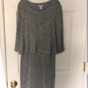 Bar III gray 3/4 sleeve two-tier sweater dress
